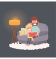 Father read a storybook to his daughter at night vector image vector image
