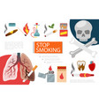 flat stop smoking elements composition vector image vector image