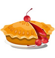 fresh cherry pie on a plate isolated on white vector image