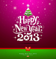 Happy New Year 2013 lettering Greeting Card vector image vector image