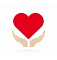 Heart in hand logo or icon vector image vector image