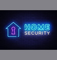 home security neon sign design template vector image