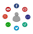icons of popular social network vector image vector image