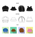 isolated object of headgear and cap icon set of vector image vector image