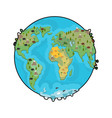 planet earth and animals beast on continents vector image vector image