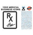 prescription page icon with 1300 medical business vector image vector image