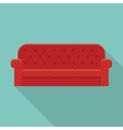 Red leather luxury sofa vector image