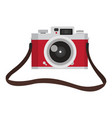 red vintage camera with camera strap vector image vector image