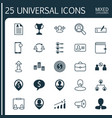 resources icons set collection of wallet team vector image vector image
