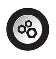 round black and white button - three nuts icon vector image vector image