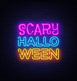 Scary halloween neon text design template
