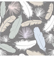 seamless pattern background with white feathers vector image
