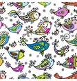 Seamless pattern with funny fishes for your design vector image