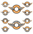 set blank emblems with wings label templates vector image vector image