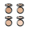 set of different makeup powder case top view vector image vector image