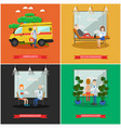 set of doctors posters in flat style vector image