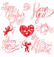 Set of hand written text Happy Valentines Day
