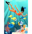 snorkeling at reef vector image vector image