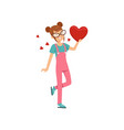 teen girl in glasses holding red heart happy vector image vector image
