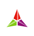 triangle three star color technology logo vector image vector image