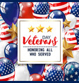 veterans day greeting white plate vector image vector image