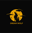 wolf moon logo vector image vector image