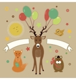 Greeting card with forest friends vector image