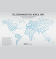 abstract telecommunication world map with circles vector image