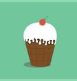 ice cream with cherry vector image