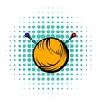 Knitting thread and needles icon comics style vector image