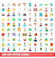 100 job offer icons set cartoon style vector image