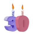 30 years birthday number with festive candle for vector image vector image
