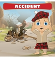 Accident on the road broken cart and compboy vector image