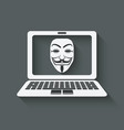 anonymous mask on laptop screen vector image vector image
