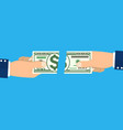 businessman hands tearing apart money banknote vector image vector image