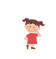 cartoon character of a shy girl vector image vector image