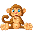 Cartoon cute monkey sitting on white background vector image