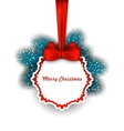 Christmas Elegant Card with Bow Ribbon and Fir vector image
