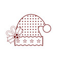 christmas hat with canes and holly leaves icon vector image vector image