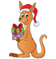 christmas kangaroo theme image 1 vector image