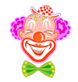 circus smiling clown with purple hair vector image