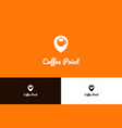 coffee point logo with pin vector image vector image