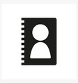 contacts book icon in simple black design vector image vector image
