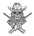 cowboy skull with two guns vector image vector image