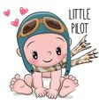 cute cartoon baby boy in a pilot hat vector image vector image