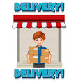 delivery logo with deliver or courier man in blue vector image