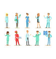 doctors with different specializations wearing vector image vector image