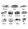 fast food sketches set hand drawn vector image