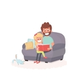 Father read a storybook to his daughter on a couch vector image vector image