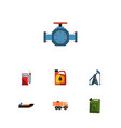 flat icon oil set of petrol flange van and other vector image vector image